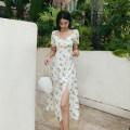 Dress Summer 2020 white S,M,L longuette singleton  Short sleeve square neck High waist A-line skirt 25-29 years old Type A