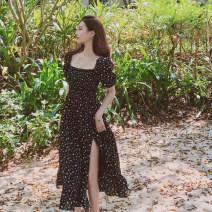 Dress Summer 2020 black S,M,L longuette singleton  Short sleeve One word collar High waist Decor A-line skirt 25-29 years old Chiffon