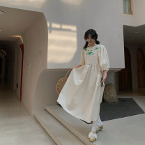 Dress Summer 2021 Off white S,M,L Mid length dress singleton  three quarter sleeve Sweet Crew neck High waist Solid color A button A-line skirt bishop sleeve Others Type A Embroidery, pockets, buttons 51% (inclusive) - 70% (inclusive) other hemp solar system