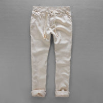 Casual pants Fashion City Light blue, white, dark blue, khaki, hemp 34,36,30,32,38,40 thin trousers Other leisure Straight cylinder No bullet summer youth Chinese style 2019 middle-waisted Straight cylinder Solid color other hemp hemp