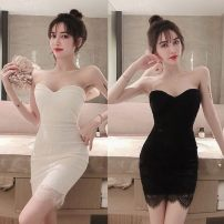 Dress Summer 2020 White, black Average size Short skirt singleton  Sleeveless commute V-neck Solid color Socket One pace skirt Breast wrapping 18-24 years old Type H Korean version 30% and below Lace cotton