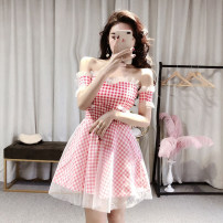 Dress Summer 2020 Red, black Average size Short skirt singleton  commute One word collar High waist lattice zipper A-line skirt Breast wrapping 18-24 years old Type A Other / other Korean version 30% and below brocade cotton
