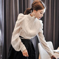 Lace / Chiffon Spring 2021 Off white, black S,M,L,XL,2XL Long sleeves commute Socket singleton  Self cultivation Regular stand collar Solid color bishop sleeve 25-29 years old Splicing Korean version