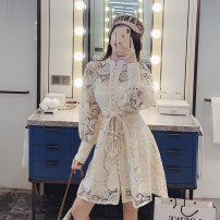 Dress Spring 2021 Black, picture S,M,L,XL Short skirt singleton  Long sleeves commute stand collar High waist Solid color zipper A-line skirt bishop sleeve Type X Other / other court Bow knot, hollow out, hook flower, hollow out seven point two nine Lace