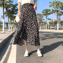 skirt Spring 2021 Average size Mid length dress commute High waist Irregular Decor Type A 25-29 years old 81% (inclusive) - 90% (inclusive) Chiffon other Ruffle, print Korean version