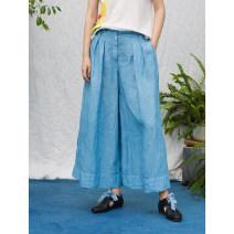 Casual pants blue S,M,L Summer 2020 Cropped Trousers Wide leg pants Natural waist original Thin money 96% and above QXW201WKZ-CL-PLANT-1-5020 hemp fold hemp