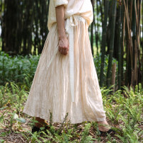skirt Summer of 2019 S,M,L Mid length dress Versatile Natural waist A-line skirt Solid color Type A silk Fold, strap
