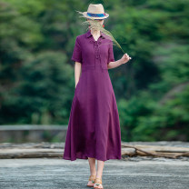Dress Summer 2021 Purple, model matching accessories need to be purchased separately S,M,L,XL longuette singleton  Short sleeve commute Polo collar middle-waisted Solid color Socket A-line skirt routine Type A Yingruyi language ethnic style Pocket, lace up, stitching 31% (inclusive) - 50% (inclusive)