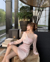Dress Spring 2021 Light powder for tea, light powder for tea (second batch) XS,S,M,L Short skirt Two piece set Long sleeves commute other High waist Solid color zipper other routine Others Type X lady Inlaid diamond, chain, fold, asymmetry, button, zipper