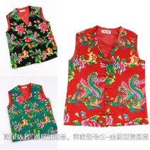 Vest / vest Fashion City Others S. M, l, XL, 2XL, 3XL, 4XL general 155-170 Jin Red, black, green, pink, blue Home standard Vest routine Four seasons V-neck youth 2021 Chinese style Plants and flowers Single breasted Cloth hem cotton nothing