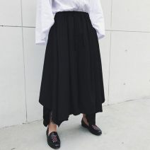 Casual pants Others Fashion City black routine Ninth pants dance easy autumn youth Japanese Retro 2020 Medium low back horn Low crotch straddle pants Three dimensional tailoring washing Solid color Fashion brand