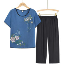 Middle aged and old women's wear Summer 2021 Blue, apricot, green, purplish red, rose red, navy blue, brick red XL (about 85-105 kg recommended), XXL (about 105-120 kg recommended), 3XL (about 120-135 kg recommended), 4XL (about 135-155 kg recommended) leisure time suit easy Two piece set Socket thin