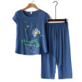 Middle aged and old women's wear Summer 2020 leisure time suit easy Two piece set Flower and bird pattern 50-59 years old Socket thin Crew neck routine Ninth pants