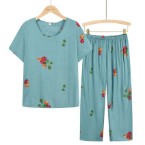 Middle aged and old women's wear Summer 2021 Light blue, red, sky blue, dark green, navy blue, skin pink XL (about 85-105 kg recommended), XXL (about 105-120 kg recommended), 3XL (about 120-135 kg recommended), 4XL (about 135-155 kg recommended) leisure time suit easy Two piece set Over 60 years old