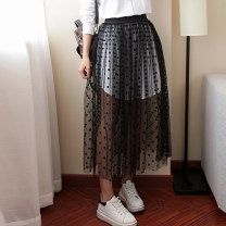 skirt Summer 2017 Average size Mid length dress Versatile High waist Pleated skirt other Type A Other / other