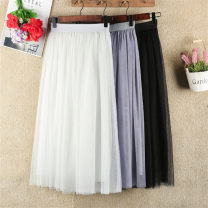 skirt Spring 2017 40cm, 65cm, 75cm, 80cm, 85CM, 90cm, year-end activities, activities 3 days to restore the original price White, gray, black Mid length dress Versatile High waist Pleated skirt Type A 18-24 years old Other / other Mesh, stitching