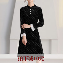 Dress Winter 2020 black 5XL,4XL,3XL,2XL,XL,L Mid length dress singleton  Long sleeves commute stand collar middle-waisted Broken flowers Socket A-line skirt pagoda sleeve Others 30-34 years old Type A Korean version Ruffles, stitching 91% (inclusive) - 95% (inclusive) other polyester fiber