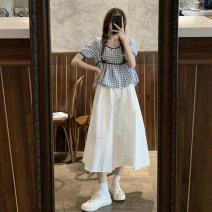 skirt Summer 2021 Average size Blue check, black check, skirt Mid length dress commute High waist A-line skirt Solid color Type A 18-24 years old 30% and below other other Korean version