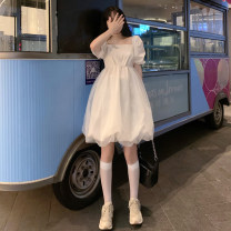 Dress Summer 2021 White, black S,M,L Middle-skirt singleton  Short sleeve commute square neck High waist Solid color Socket A-line skirt routine 18-24 years old Type A Korean version Splicing 30% and below other other