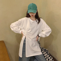 T-shirt Gray, white, black Average size Spring 2021 Long sleeves Crew neck easy Medium length routine commute other 30% and below 18-24 years old Korean version other Solid color fold