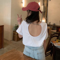 T-shirt Lake blue, white, black, violet S,M,L Summer 2021 Short sleeve Crew neck easy Regular routine commute other 30% and below 18-24 years old Korean version Solid color backless