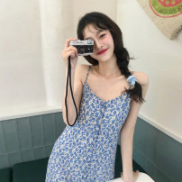 Dress Summer 2021 Blue floral skirt S, M Mid length dress singleton  Sleeveless commute V-neck High waist Broken flowers Single breasted A-line skirt camisole 18-24 years old Type A Korean version 30% and below other other