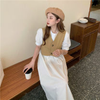 Dress Summer 2021 Khaki vest, black vest, white dress, beige dress Average size Mid length dress Two piece set Short sleeve commute Crew neck Loose waist Solid color Socket Big swing puff sleeve Others 18-24 years old Type A Korean version 30% and below other other