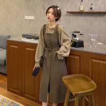 Dress Spring 2021 Black suit + belt, khaki suit + belt Average size longuette Two piece set Long sleeves commute square neck High waist Solid color Single breasted other routine 18-24 years old Type A Korean version 30% and below other