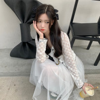 Dress Spring 2021 White jacket, Beixing jacket, white dress, apricot dress Average size Mid length dress singleton  Sleeveless commute V-neck High waist Socket A-line skirt camisole 18-24 years old Type A Korean version 30% and below