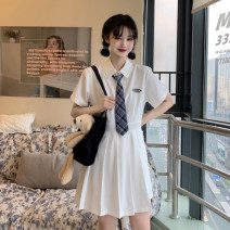 Dress Summer 2021 White + tie, blue + tie S,M,L Short skirt singleton  Short sleeve Sweet Polo collar High waist Solid color Socket Pleated skirt routine Others 18-24 years old Type A 31% (inclusive) - 50% (inclusive) other other college