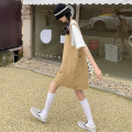 Dress Summer 2021 Khaki, black Average size Short skirt singleton  Sleeveless commute square neck Loose waist Solid color Socket other straps 18-24 years old Type H Korean version 30% and below other