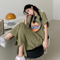Dress Summer 2021 Bean paste green Average size longuette singleton  Short sleeve commute Crew neck Loose waist letter Socket other routine Others 18-24 years old Type H Korean version 30% and below