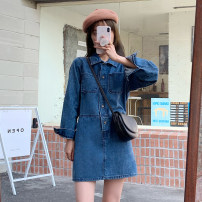 Dress Spring 2021 blue S,M,L Short skirt singleton  Long sleeves commute Polo collar High waist Single breasted routine 18-24 years old Korean version 30% and below