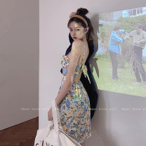 Dress Summer 2021 Picture color S, M Short skirt singleton  Sleeveless commute One word collar High waist Broken flowers Socket other camisole 18-24 years old T-type Korean version 30% and below
