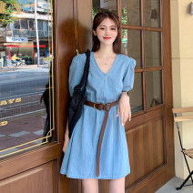 Dress Summer 2021 Blue (with belt) Average size Short skirt singleton  Short sleeve commute V-neck High waist Solid color Socket A-line skirt puff sleeve Others 18-24 years old Type A Korean version 30% and below other other