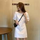 Dress Summer 2021 White, black S,M,L Short skirt singleton  Short sleeve Sweet Crew neck High waist Solid color Socket A-line skirt puff sleeve Others 18-24 years old Type A 30% and below other other
