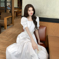 Dress Summer 2021 White, blue, yellow S, M longuette singleton  Short sleeve commute square neck High waist Solid color A-line skirt puff sleeve 18-24 years old Type A Korean version 30% and below