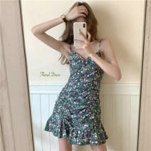 Dress Summer 2021 Purple, green S, M Short skirt singleton  Sleeveless commute V-neck High waist Broken flowers Socket A-line skirt camisole 18-24 years old Type A Korean version 30% and below other other