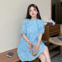 Dress Summer 2021 Green, blue Average size Middle-skirt singleton  Short sleeve commute Crew neck Loose waist Broken flowers Socket puff sleeve Others 18-24 years old Type A Korean version printing 30% and below