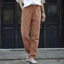 Casual pants Black, orange, coffee Average size Winter of 2019 trousers Haren pants Natural waist original routine 25-29 years old 81% (inclusive) - 90% (inclusive) hemp hemp