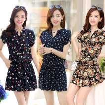 Dress Summer 2021 S [recommended 80-98 Jin], m [99-109 Jin], l [110-119 Jin], XL [120-129 Jin], 2XL [130-140 Jin], 3XL [141-155 Jin] Short skirt singleton  Short sleeve Sweet middle-waisted Broken flowers Socket Others 25-29 years old Pocket, button, print Mori