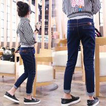 trousers female 100cm,110cm,120cm,130cm,140cm,150cm,160cm,170cm spring and autumn trousers leisure time There are models in the real shooting Jeans Leather belt middle-waisted Denim Don't open the crotch Cotton 95% other 5% Class B Chinese Mainland Guangdong Province Foshan City