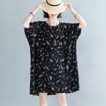 Women's large Summer 2020 space exploration Big size average Dress singleton  easy thin Socket Short sleeve Crew neck routine other other