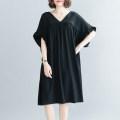 Women's large Summer 2020 Oversized black Big size average Dress singleton  commute easy thin Socket Korean version V-neck routine Lotus leaf sleeve Middle-skirt