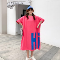 Women's large Summer 2020 Big size average T-shirt singleton  commute easy moderate Socket Short sleeve Medium length cotton 25-29 years old