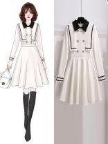 Dress Spring 2021 White skirt 810785, black skirt 810785 S,M,L,XL Middle-skirt singleton  Long sleeves commute Admiral High waist Solid color Socket A-line skirt other Others 25-29 years old Type A Oenothera Korean version Stitching, asymmetry, button, zipper 810785 spring skirt More than 95%
