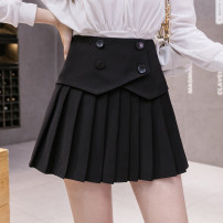 skirt Summer 2021 S,M,L,XL,2XL,3XL,4XL White, black Short skirt commute High waist Pleated skirt Solid color Type A 18-24 years old 81% (inclusive) - 90% (inclusive) brocade polyester fiber fold Korean version 201g / m ^ 2 (including) - 250G / m ^ 2 (including)