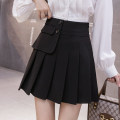 skirt Summer 2021 S,M,L,XL Apricot, black Short skirt Versatile High waist Pleated skirt Type A 18-24 years old 81% (inclusive) - 90% (inclusive) brocade polyester fiber Asymmetry 201g / m ^ 2 (including) - 250G / m ^ 2 (including)
