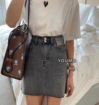 skirt Summer 2021 S/26,M/27,L/28,XL/29 Grey, light blue Short skirt Versatile High waist A-line skirt letter Type A 18-24 years old 71% (inclusive) - 80% (inclusive) Denim Pocket, button