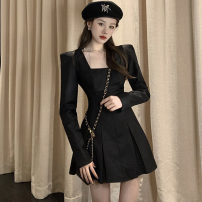 Dress Spring 2021 Gray, black S,M,L Short skirt singleton  Long sleeves commute square neck High waist Solid color zipper Pleated skirt routine Type A .